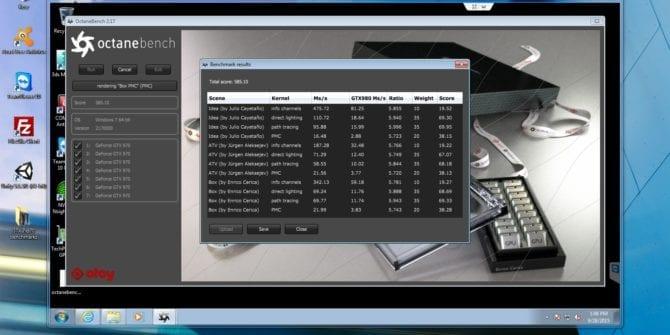 Octane benchmark 7x GTX 970 server